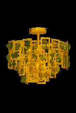 Markham West 6 Light Semi Flushmount - Gold Finish - Stone