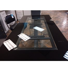 Vaughan Clear & Black Glass Top Desk
