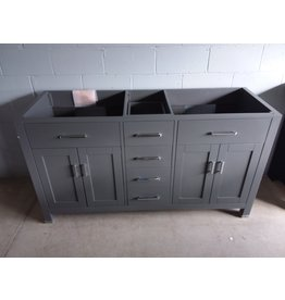 North York Grey 2-sink vanity cabinet