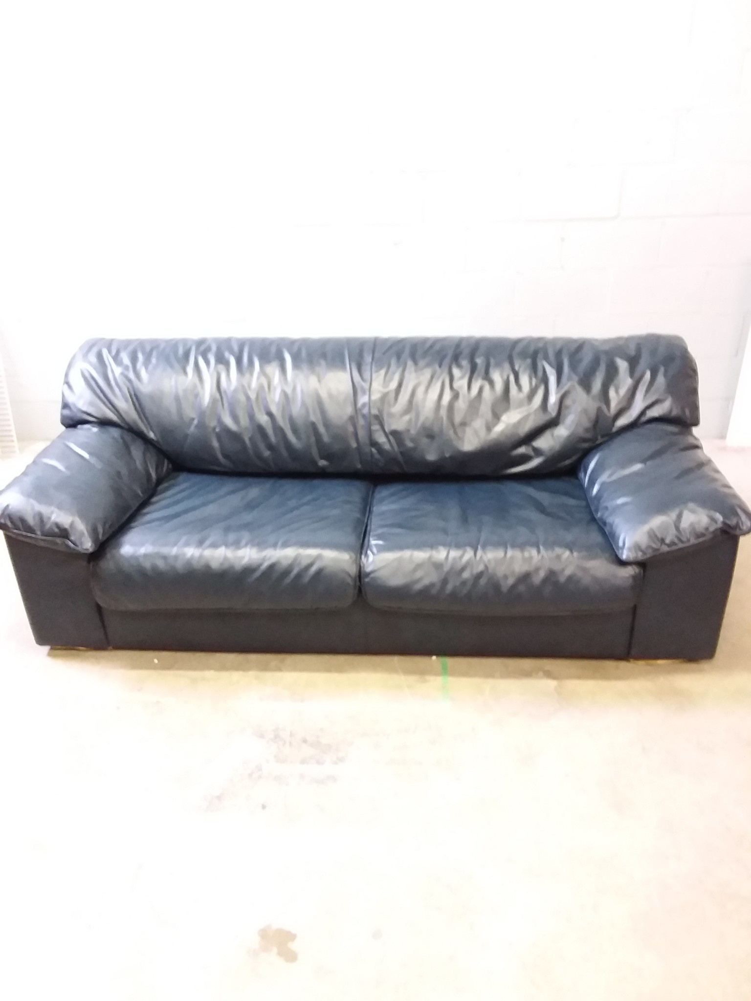 Dark Blue Leather Pullout Sofa
