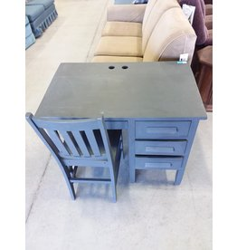 Markham West Small grey desk with chair
