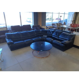 East York Awesome Black Leather Sectional Sofa
