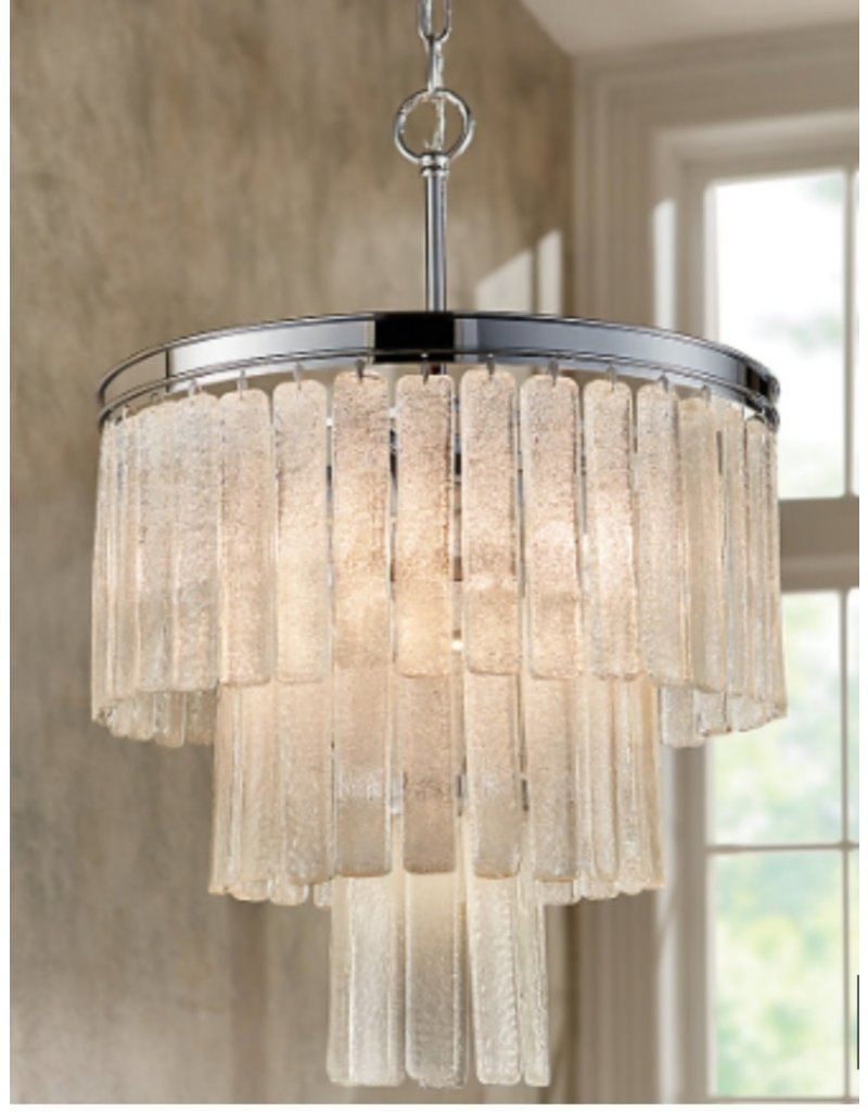 Markham West 5-Light Chrome Convertible Pendant with Hanging Sugar Glass Tiers