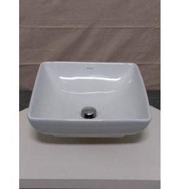 Studio District Ceramic white countertop square bowl sink