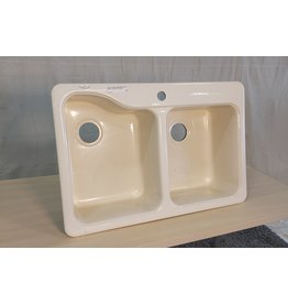 Markham West Silhouette Double Bowl Kitchen Sink with 1 Faucet Holes