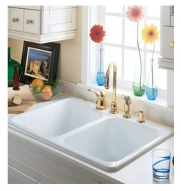 Markham West Silhouette Double Bowl Kitchen Sink with 5 Faucet Holes