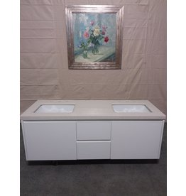 Studio District White floating wall mounted 2 sink vanity