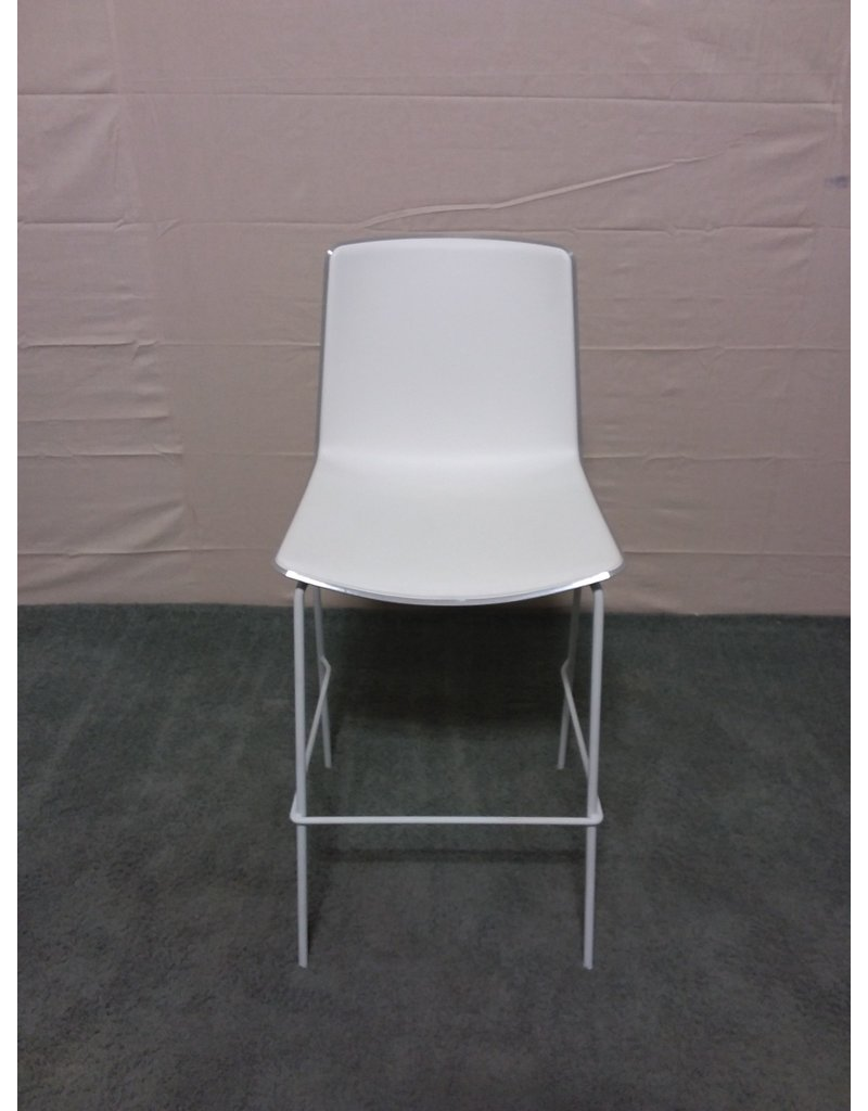 Studio District Pedrali white plastic barstool.