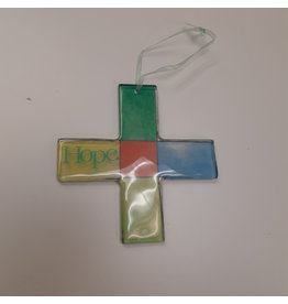 Vaughan Glass Cross Suncatcher - Hope