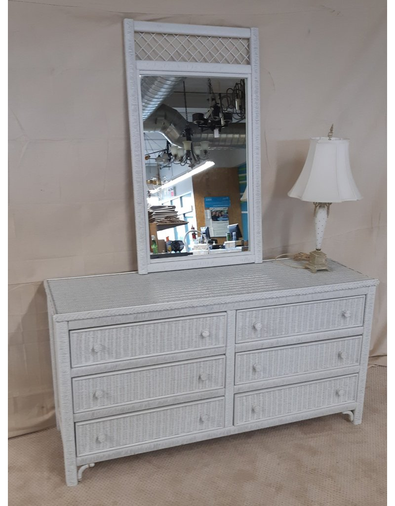 East York 6 Drawer Wicker Dresser with mirror