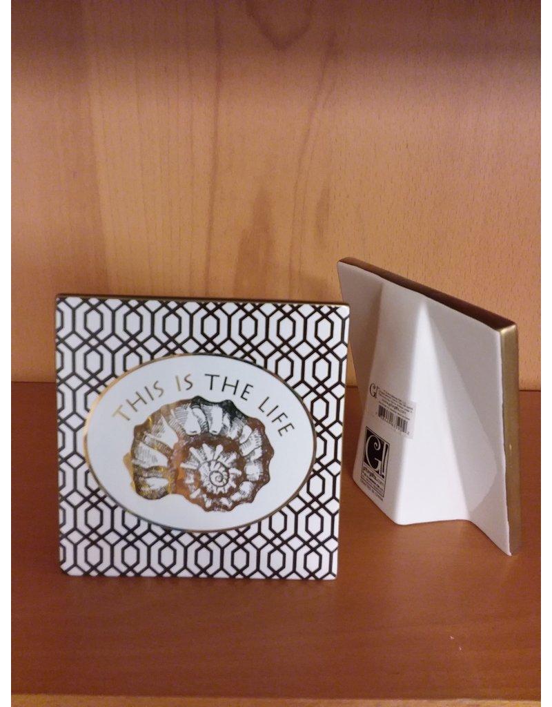 "Vaughan Porcelain Ornament ""Gold Shell"""