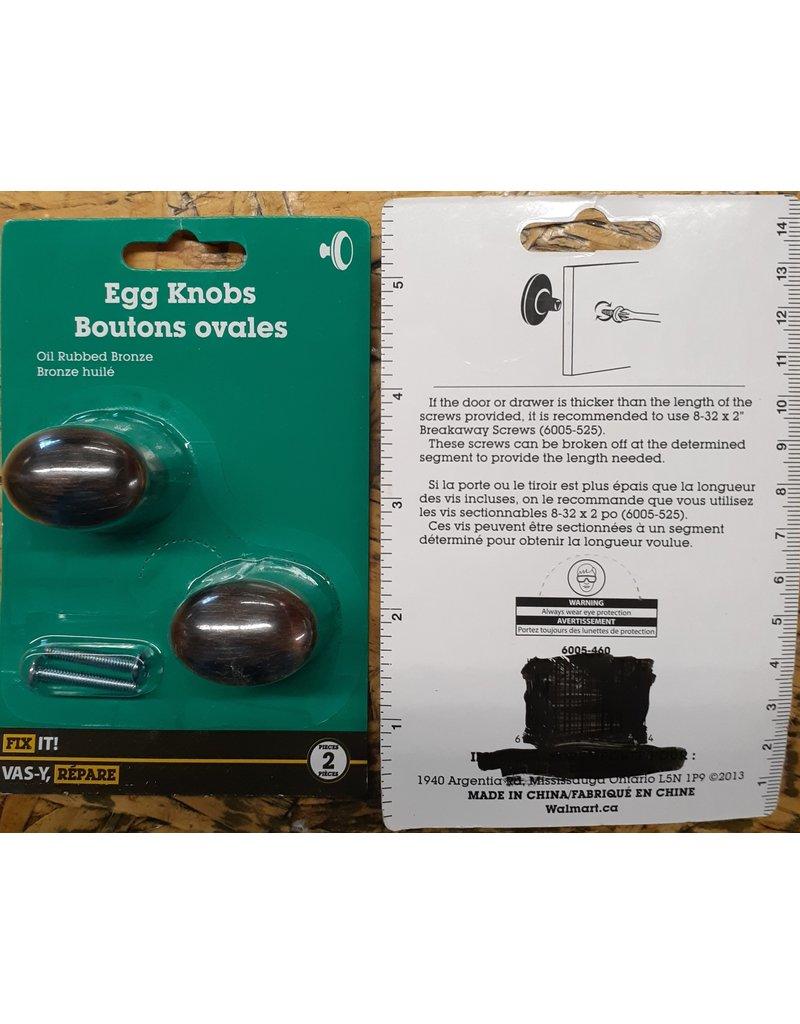 East York Rubbed Bronze Egg Shaped Knob  2 Pkg