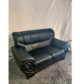 Markham West Black faux leather love seat