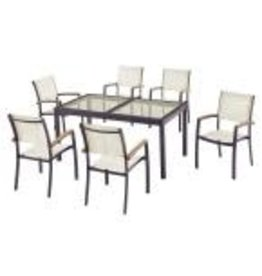 Markham West Baymont 7-Piece Aluminum Patio Outdoor Patio Dining Set with Smoked Glass Table Top and Sling Dining Chairs
