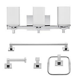 Studio District Globe Electric Finn 5-Piece Chrome All-In-One Bath Set with Vanity Light