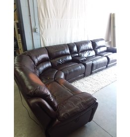North York Reddish brown faux leather sectional