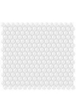 Studio District 3/4-inch White Penny Round Glossy Porcelain Mosaics