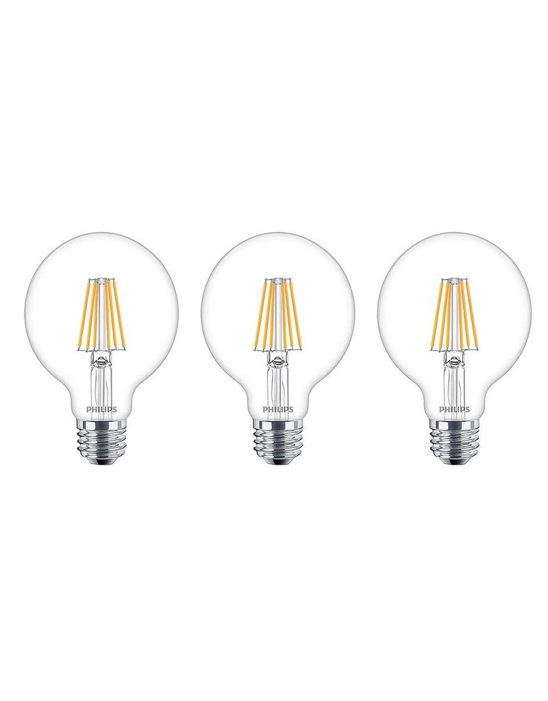 East York Philips 40W Equivalent Soft White WarmGlow Clear Glass G26 Globe LED Light Bulb ENERGY STAR (3-Pack)