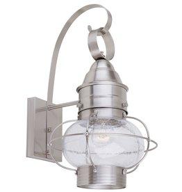 East York Hampton Bay 10 In. 1-Light Wall Lantern, Satin Chrome Finish