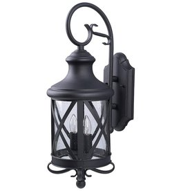 East York Canarm Mason 2 Light Black Wall Lantern, Seeded Glass
