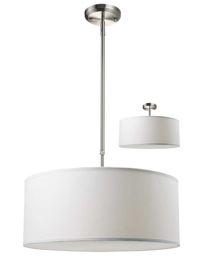"East York Z-Lite Albion 171-20W-C 20"" 3 Light Pendant Steel Frame with Brushed Nickel finish in White Linen"