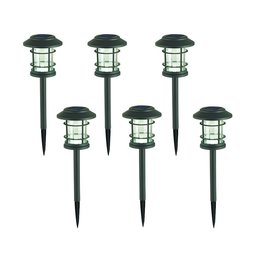 Hampton Bay 10 Lumens Solar LED Grey Zinc Landscape Pathway Light (6-Pack)