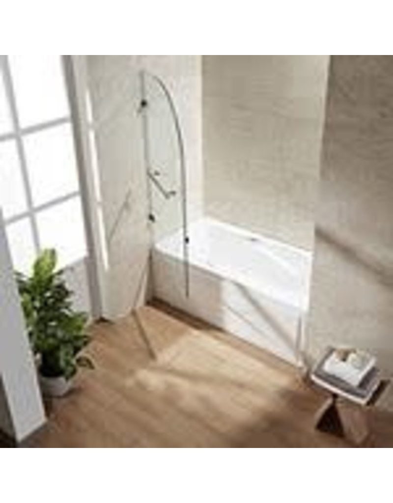 Studio District VIGO Orion 34 inch x 58 inch Frameless Hinged Tub Door in Stainless Steel with Clear Glass
