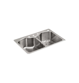 Brampton Kohler Double-Equal Stainless Steel Kitchen Sink