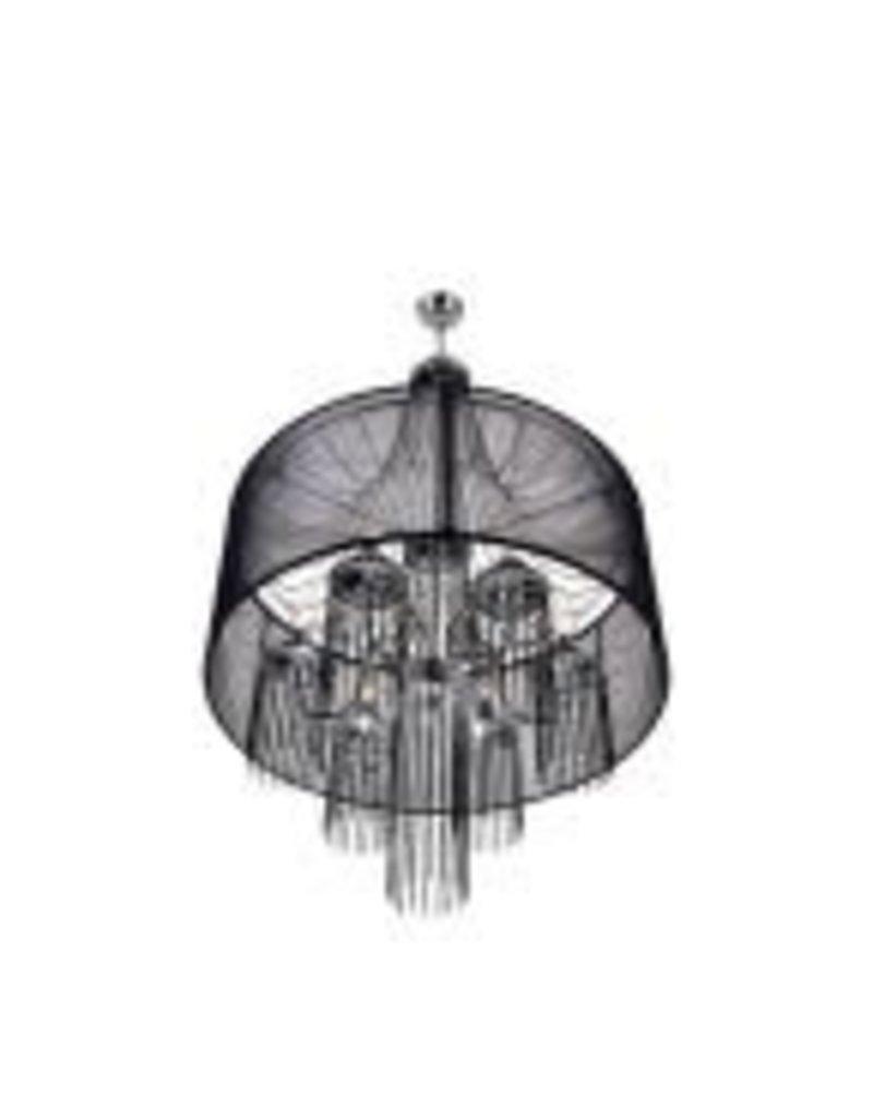 Studio District Amelia 6-Light Chrome Chandelier with Black Shade