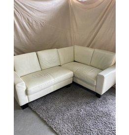 Markham West White leather sectional