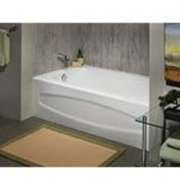 Studio District American Standard Cadet 5 ft. Alcove Rectangular Enamel Steel Bathtub with Left-Hand Outlet in White
