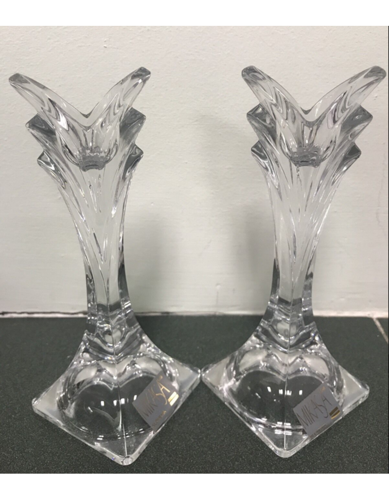 Vaughan A Pair - Clear Crystal Candle Holders