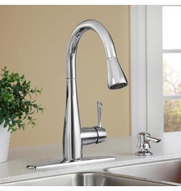 Brampton 1 Handle High Arc Pull Down Kitchen Faucet