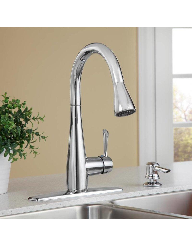 Brampton 1 Handle High Arc Pull Down Kitchen Faucet