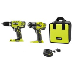 East York RYOBI 18V ONE+ Cordless Kit with 1/2 -inch Drill, 1/2 -inch Impact Wrench, and Charger
