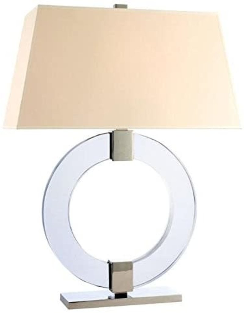 Studio District Hudson Valley Lighting Ames 1-Light Table Lamp - Polished Nickel Finish with White Faux Silk Shade
