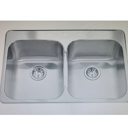 "East York Kindred Double 20 Ga sink 3 hole drilling -20-1/2"" X 31-1/4"" X 7"""