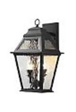 Studio District Hampton Bay 12W 2-Light Matte Black LED Outdoor Wall Lantern with Water Glass Panels