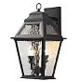 Studio District Hampton Bay 12W 2-Light Matte Black LED Outdoor Wall Lantern with Water Glass Panels