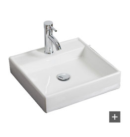 East York American Imaginations 17 1/2-inch W x 17 1/2-inch D Wall-Mount Square Vessel Sink in White with Chrome