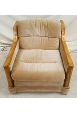 East York Brown velour chair with wooden arms