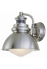 Studio District Hampton Bay 1-Light Outdoor Wall Lantern with Motion Sensor, Brushed Nickel Finish