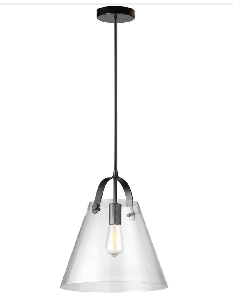 East York Dainolite 1 Light Incandescent Pendant Matte Black Finish with Clear Glass