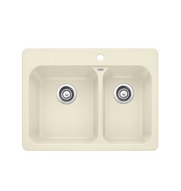 East York Blanco VISION 1.5, Offset Double Bowl Drop-in Kitchen Sink, SILGRANIT Biscuit