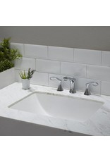 East York Ceramic Rectangular Undermount Bathroom Sink with Overflow in White
