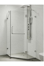 East York Piedmont 34.125 in. x 73.375 in. Frameless Neo-Angle Hinged Corner Shower Enclosure in Chrome with Clear Glass