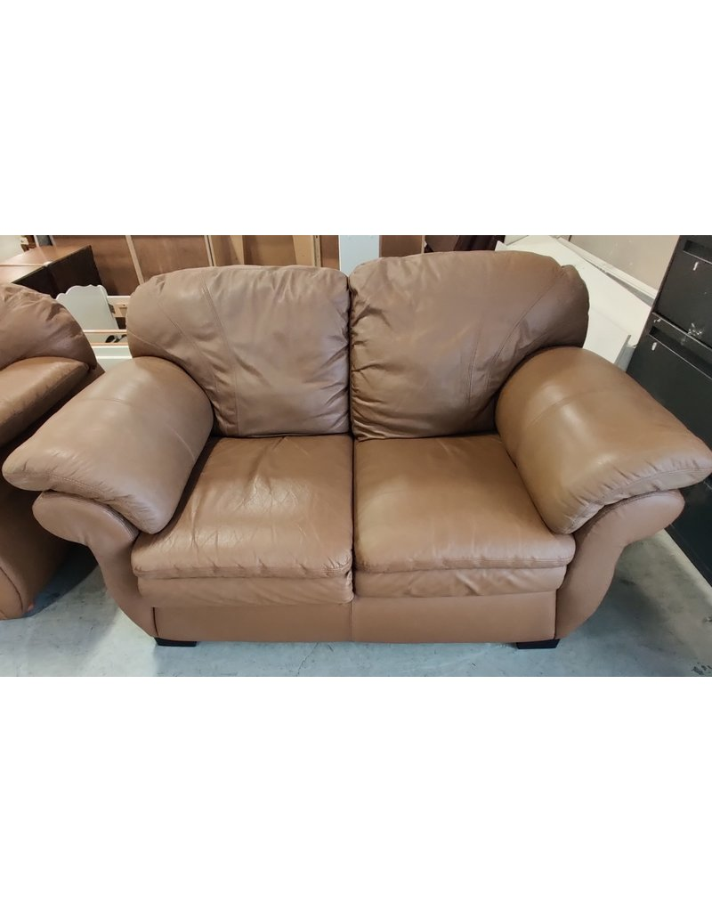 Markham West Brown leather love seat
