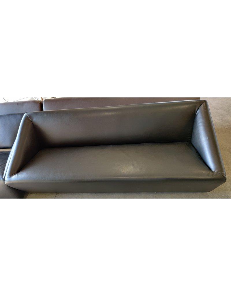 Markham West Faux black leather office sofa