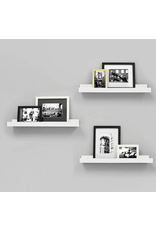 East York Kiera Grace Edge - 23x4 Inch Picture Frame Ledge- White (3-Pack)