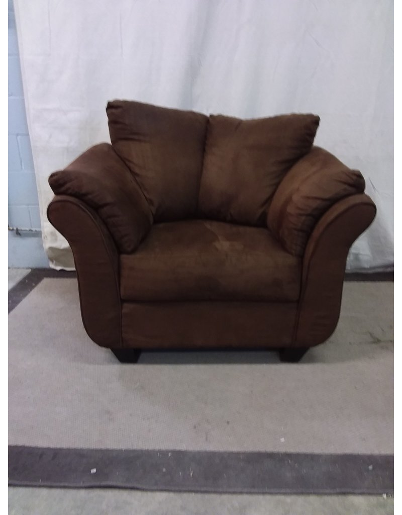 North York Chocolate brown faux suede armchair